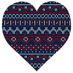 Christmas Concept With Knitted Pattern Wooden Puzzle Heart