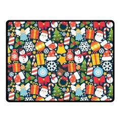 Colorful Pattern With Decorative Christmas Elements Double Sided Fleece Blanket (small)