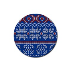 Beautiful Knitted Christmas Pattern Rubber Coaster (round)