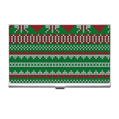 Knitted Christmas Pattern Green Red Business Card Holder