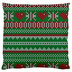 Knitted Christmas Pattern Green Red Large Cushion Case (two Sides)