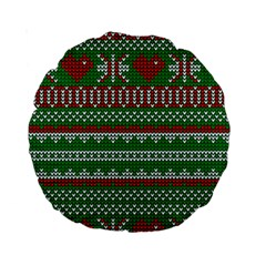 Knitted Christmas Pattern Green Red Standard 15  Premium Round Cushions