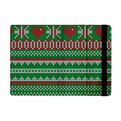 Knitted Christmas Pattern Green Red Ipad Mini 2 Flip Cases