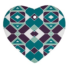 Teal And Plum Geometric Pattern Heart Ornament (two Sides) by mccallacoulture
