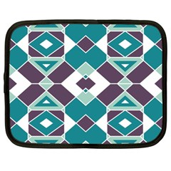 Teal And Plum Geometric Pattern Netbook Case (xl) by mccallacoulture