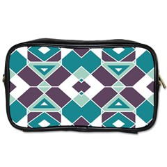 Teal And Plum Geometric Pattern Toiletries Bag (two Sides) by mccallacoulture