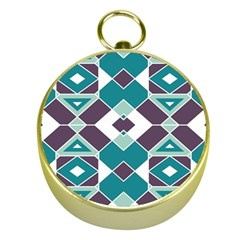 Teal And Plum Geometric Pattern Gold Compasses by mccallacoulture