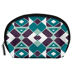 Teal And Plum Geometric Pattern Accessory Pouch (large) by mccallacoulture