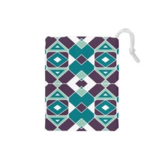 Teal And Plum Geometric Pattern Drawstring Pouch (small) by mccallacoulture