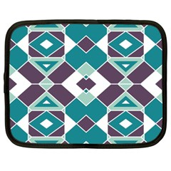Teal And Plum Geometric Pattern Netbook Case (xxl) by mccallacoulture