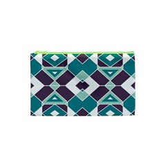Teal And Plum Geometric Pattern Cosmetic Bag (xs) by mccallacoulture