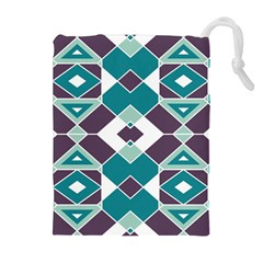 Teal And Plum Geometric Pattern Drawstring Pouch (xl) by mccallacoulture