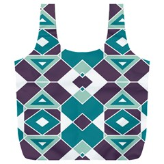 Teal And Plum Geometric Pattern Full Print Recycle Bag (xxxl)