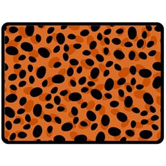 Orange Cheetah Animal Print Fleece Blanket (large)  by mccallacoulture
