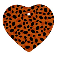 Orange Cheetah Animal Print Heart Ornament (two Sides) by mccallacoulture