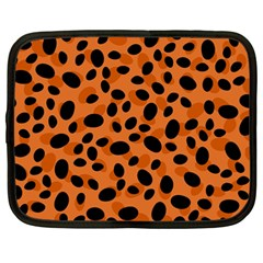 Orange Cheetah Animal Print Netbook Case (large) by mccallacoulture