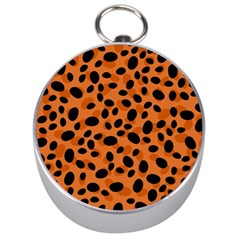 Orange Cheetah Animal Print Silver Compasses by mccallacoulture