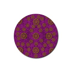 Snow Stars  In Gold On Color Rubber Coaster (round)  by pepitasart