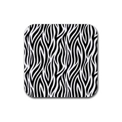 Thin Zebra Animal Print Rubber Coaster (square)  by mccallacoulture
