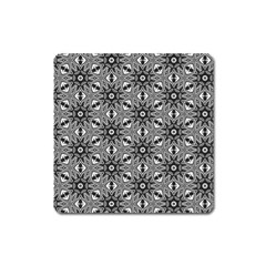 Black And White Pattern Square Magnet