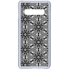 Black And White Pattern Samsung Galaxy S10 Plus Seamless Case(white) by HermanTelo