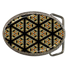 Pattern Stained Glass Triangles Belt Buckles by HermanTelo
