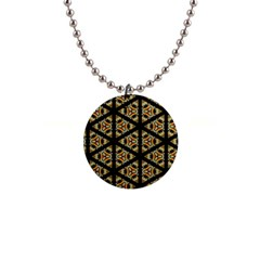 Pattern Stained Glass Triangles 1  Button Necklace