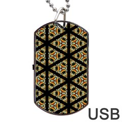 Pattern Stained Glass Triangles Dog Tag Usb Flash (one Side)