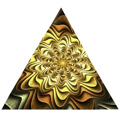 Fractal Flower Petals Gold Wooden Puzzle Triangle by HermanTelo