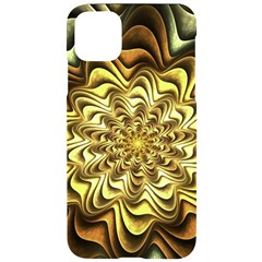 Fractal Flower Petals Gold Iphone 11 Pro Max Black Uv Print Case by HermanTelo