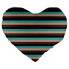 Stripey 1 Large 19  Premium Flano Heart Shape Cushions by anthromahe