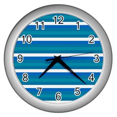 Stripey 3 Wall Clock (silver) by anthromahe