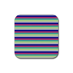 Stripey 6 Rubber Coaster (square)  by anthromahe