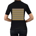Stripey 12 Women s T-Shirt (Black) (Two Sided) Back