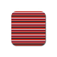 Stripey 13 Rubber Square Coaster (4 pack)
