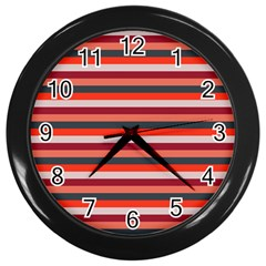 Stripey 13 Wall Clock (Black)