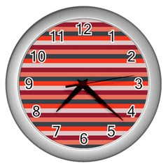 Stripey 13 Wall Clock (Silver)