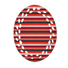 Stripey 13 Oval Filigree Ornament (Two Sides)