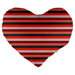 Stripey 13 Large 19  Premium Flano Heart Shape Cushions