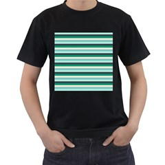 Stripey 14 Men s T-shirt (black) (two Sided)