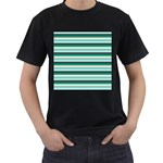 Stripey 14 Men s T-Shirt (Black) (Two Sided) Front