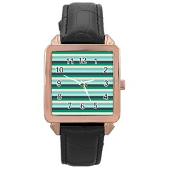 Stripey 14 Rose Gold Leather Watch  by anthromahe