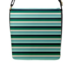 Stripey 14 Flap Closure Messenger Bag (l) by anthromahe