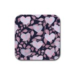 Navy Floral Hearts Rubber Square Coaster (4 pack)  Front