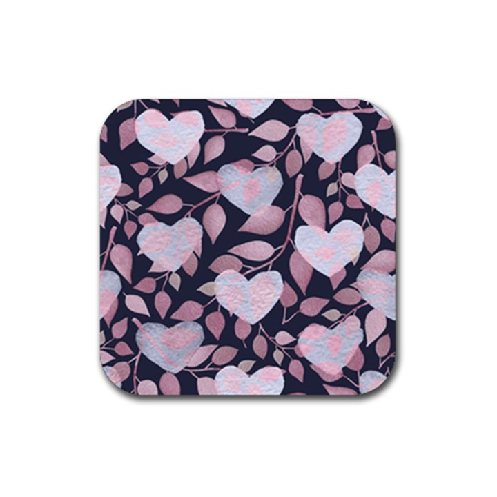 Navy Floral Hearts Rubber Square Coaster (4 pack)