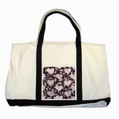 Navy Floral Hearts Two Tone Tote Bag by mccallacoulture