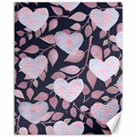 Navy Floral Hearts Canvas 16  x 20  15.75 x19.29  Canvas - 1