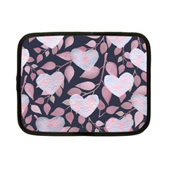 Navy Floral Hearts Netbook Case (small) by mccallacoulture