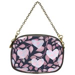 Navy Floral Hearts Chain Purse (One Side) Front