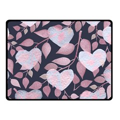 Navy Floral Hearts Fleece Blanket (small) by mccallacoulture